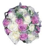 Witte & roze rozen, muntbloemen en speelse draad erover