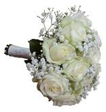 Bruidsboeket witte rozen en gips