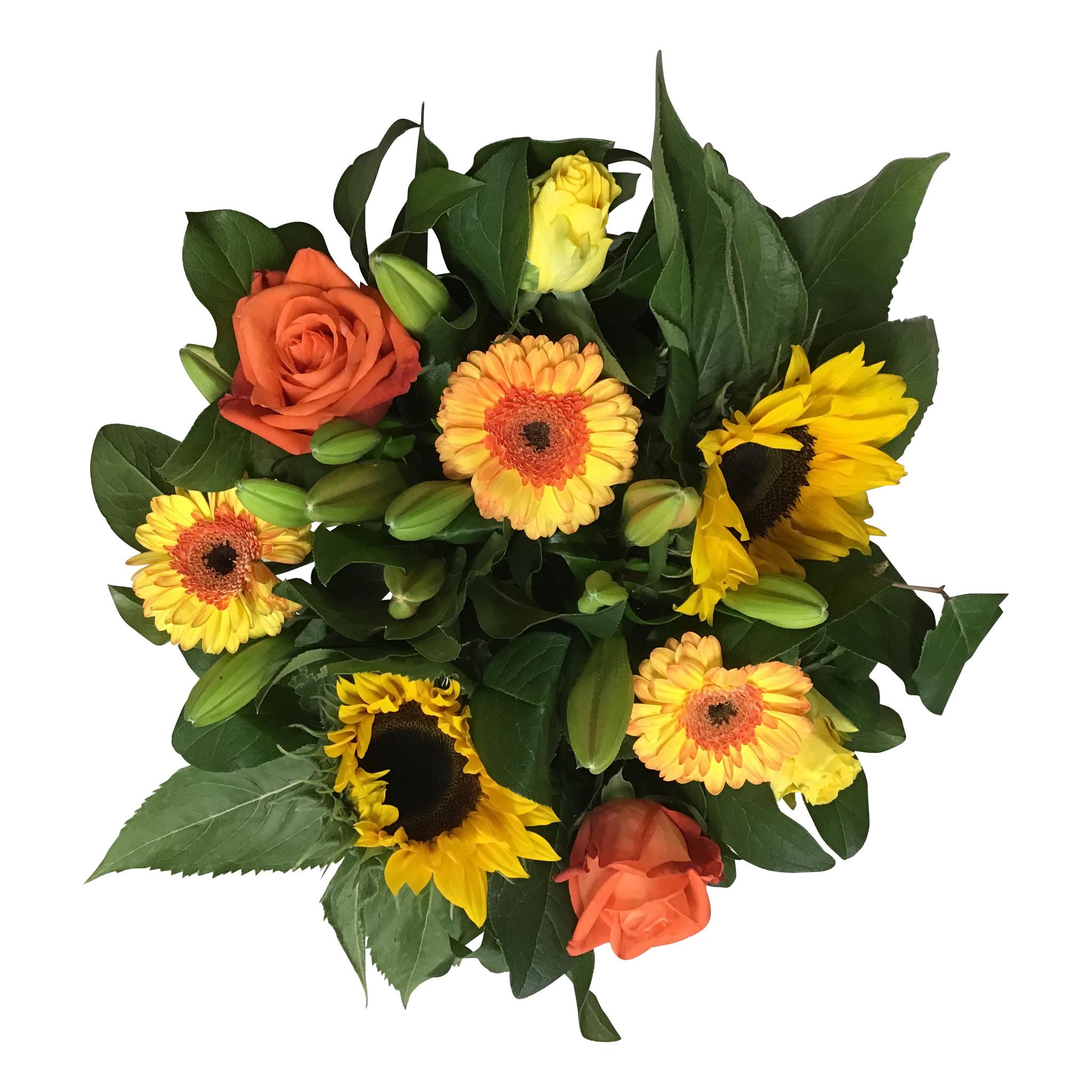 Boeket met zonnebloemen en gele, Oranje rozen