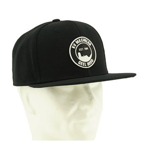 Snap back black logo rubber patch