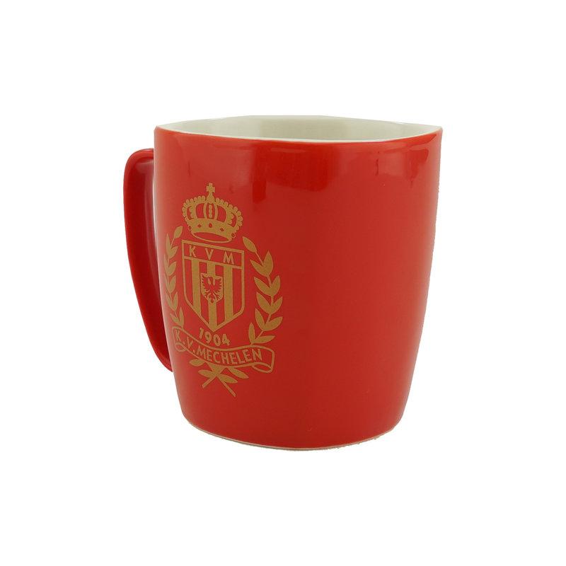 Topfanz Mok rood logo goud - KVM