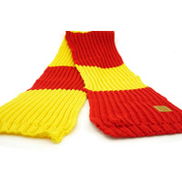 Topfanz Scarf retro knitted with leather badge