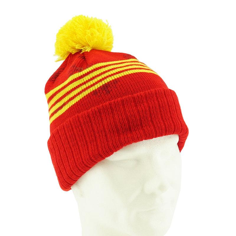 Topfanz Muts rood gele strepen sneeuwvlokjes - KVM