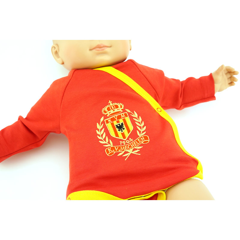 Topfanz Romper overslag rood-geel 3-6 maanden