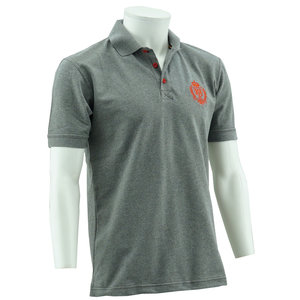 Polo grey logo red