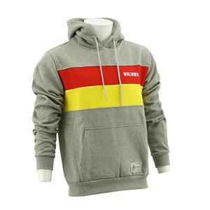 Hoodie grijs - geel/rode strepen