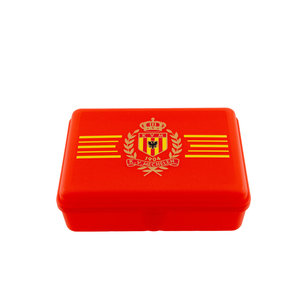 Lunch box red Logo yellow stripes