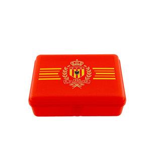 Lunchbox rood Logo gele strepen