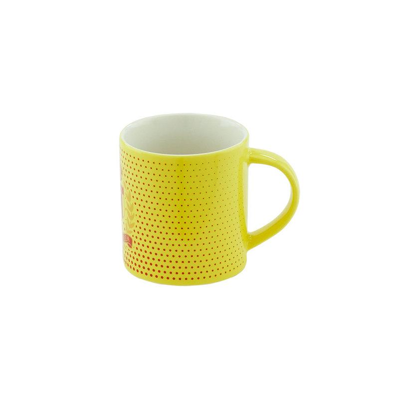 Topfanz Tasse jaune rouge bubble