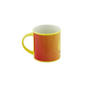 Mug yellow red bubbles