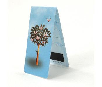 Marcador magnético, árbol con mariposas
