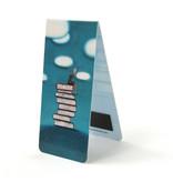 Marcapaginas magnético, pila de libros, ilustración