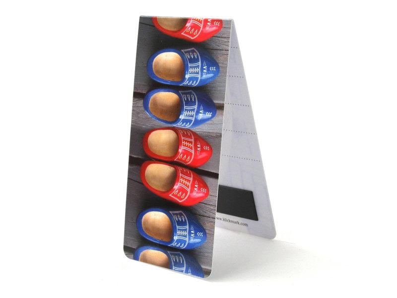 Marque-page magnétique, chaussures en bois rouge et bleu