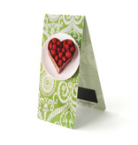 Magnetic Bookmark, Heart shaped cake, green