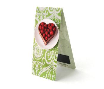 Marcador magnético, pastel, corazón, verde