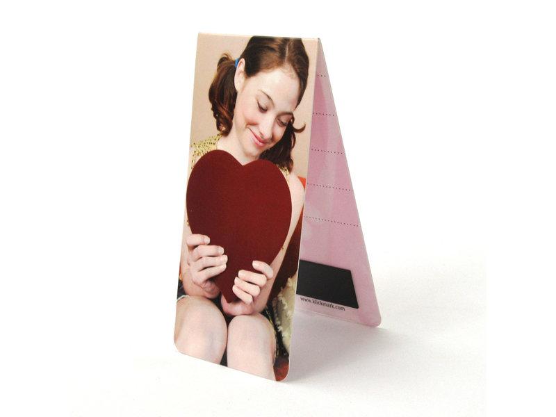Marque-page magnétique, fille avec coeur