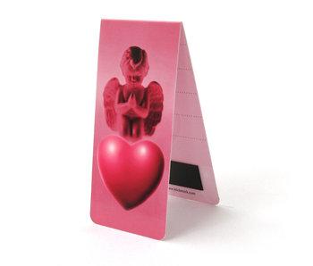 Marcador magnético, ángel y corazón