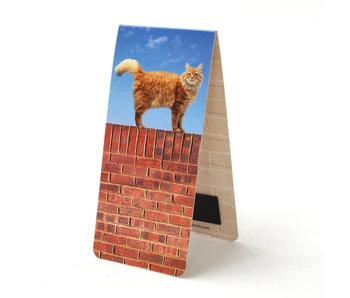 Marque-page magnétique, chat sur un mur