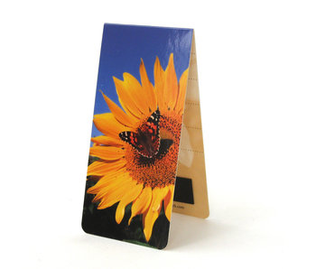 Marcapagina magnético, girasol con mariposa