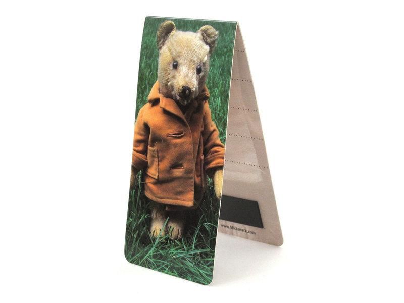 Marque-page magnétique, ours en peluche, herbe