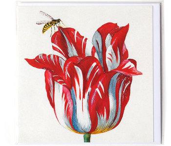 Double carte, Blanc avec tulipe rouge avec insecte (abeille), Marrel