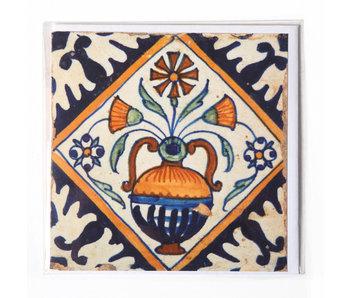 Double carte, tuile bleue de Delft, vase à fleurs
