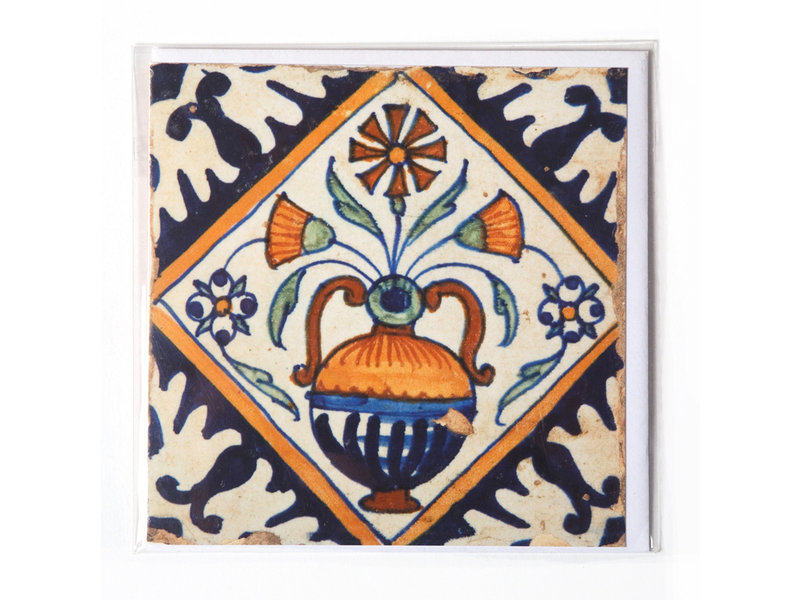 Doble tarjeta, azulejo azul de Delft, florero