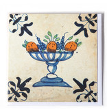 Doppelkarte, Delfter Blau, Obstschale