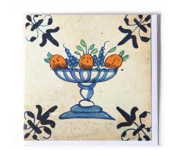 Dubbele kaart, Delfts blauw, Fruitschaal