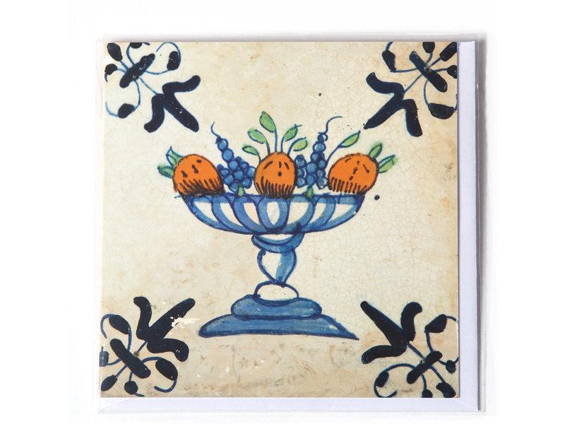 Card, Delft Blue Tile, Fruit Bowl Oranges/Grapes