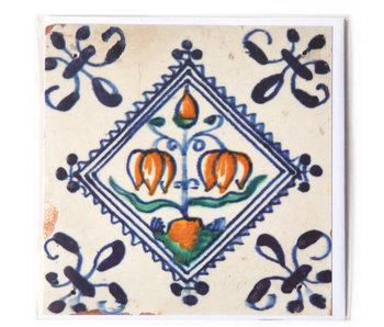 Card, Delft Blue Tile, Flower Bulb