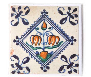 Double carte, tuile bleue de Delft, bulbe à fleurs
