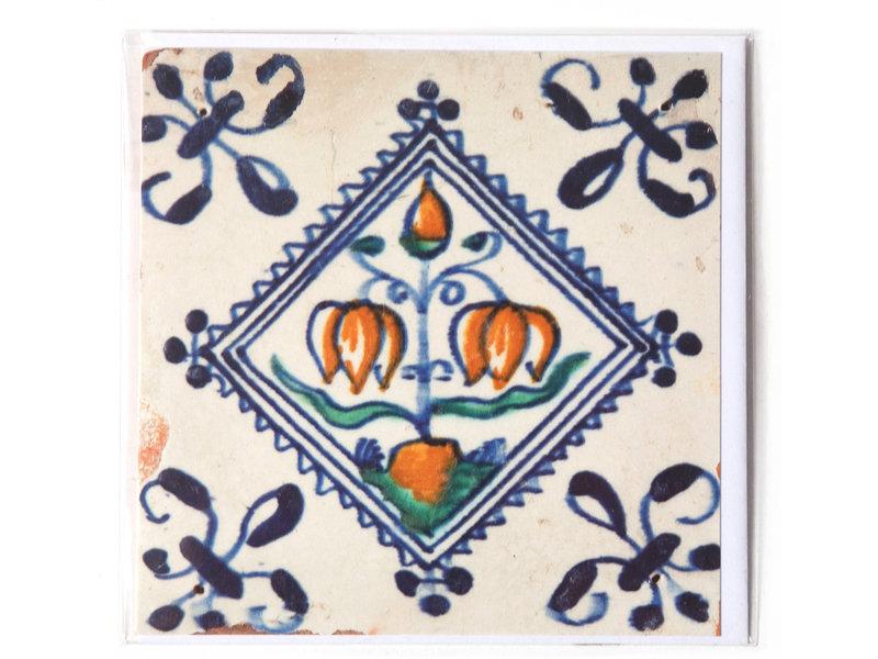 Dubbele kaart, Delfts blauwe tegel, Bloembol