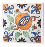 Card, Delft Blue Tile, Pommegranate