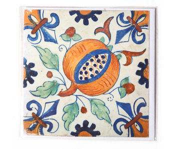 Card, Delft Blue Tile, Pommegranate