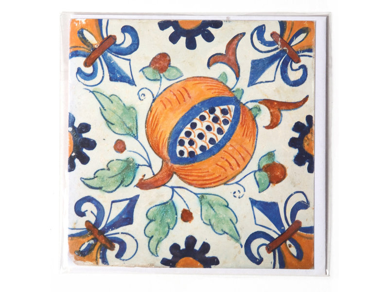 Doble tarjeta, azulejo azul de Delft, granada
