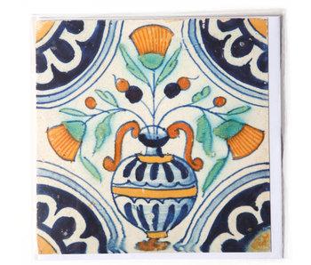 Dubbele kaart, Delfts blauwe tegel, Bloemenvaas