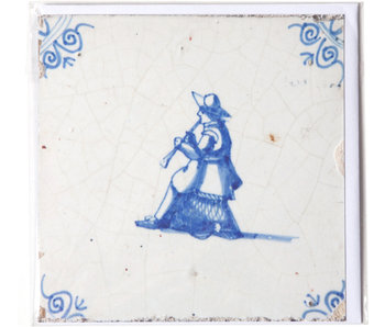 Card, Delft Blue Tile, The Musician
