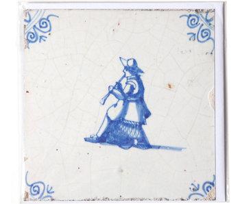 Doble tarjeta, azulejo azul de Delft, músico