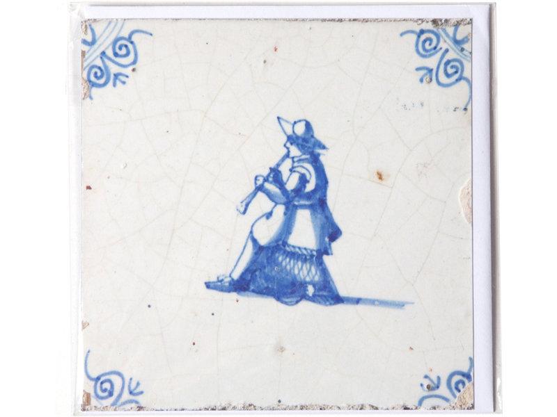 Doppelkarte, Delfter blaue Fliese, Musiker