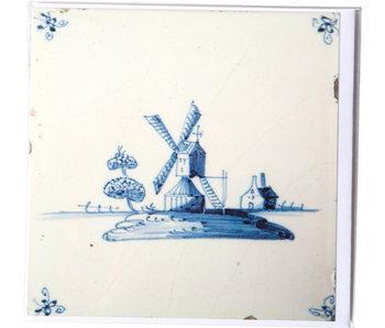 Doble tarjeta, azulejo azul de Delft, molino