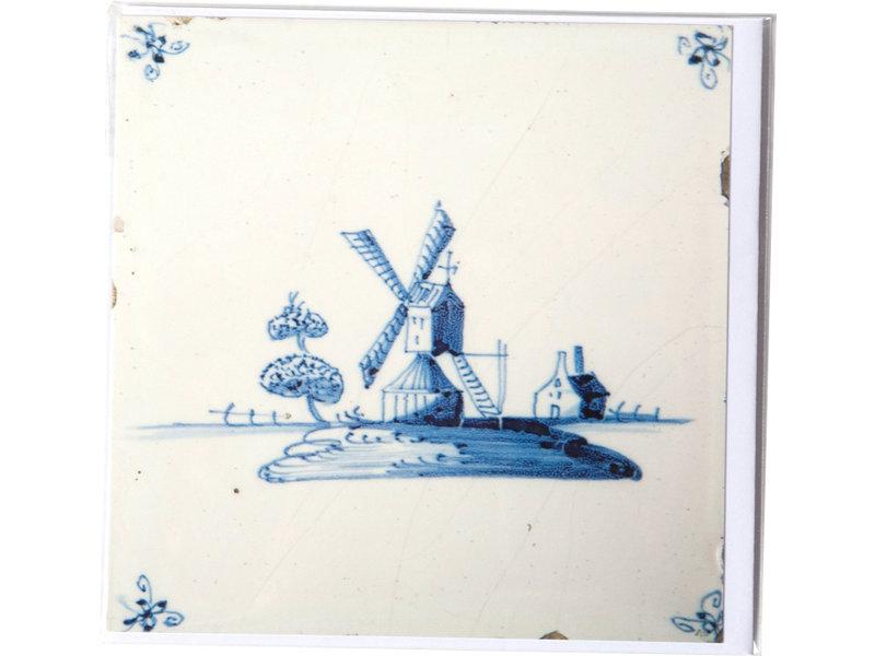 Card, Delft Blue Tile, Windmill