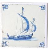 Card, Delft Blue Tile, Sailing Ship