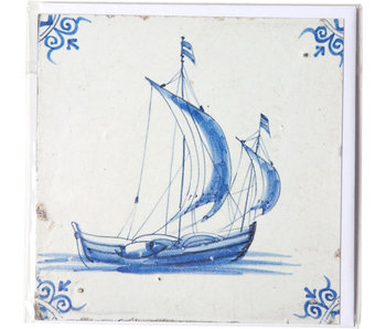 Double card, Delft Blue Tile, Sailing Ship