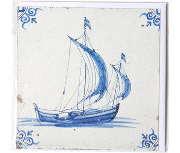 Double carte, tuile bleue de Delft, voilier