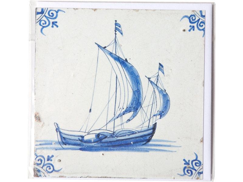 Dubbele kaart, Delfts blauwe tegel, Zeilschip