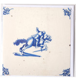 Card, Delft Blue Tile, Equestrian