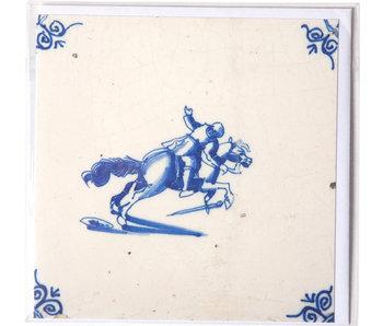 Dubbele kaart, Delfts blauwe tegel, Ruiter