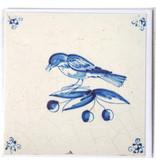 Card, Delft Blue Tile, Bird on a Branch