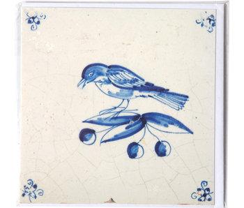 Doble tarjeta, azulejo azul de Delft, pájaro en una rama